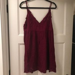 Anthropologie cranberry cutout sundress